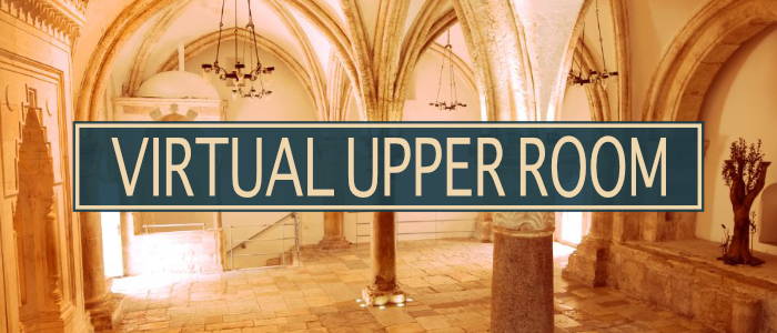 Virtual Upper Room title in front of image of room